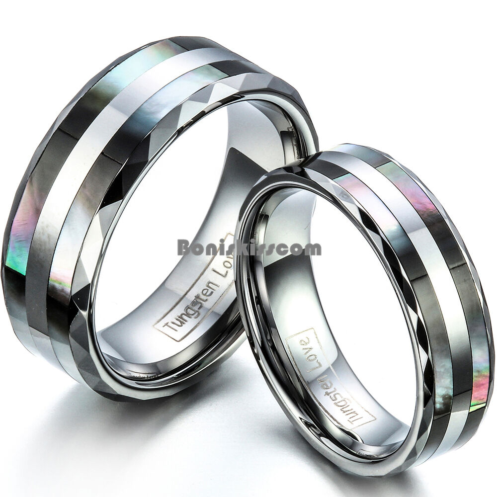 Tungsten Carbide Ring W Double Abalone Shell Couples