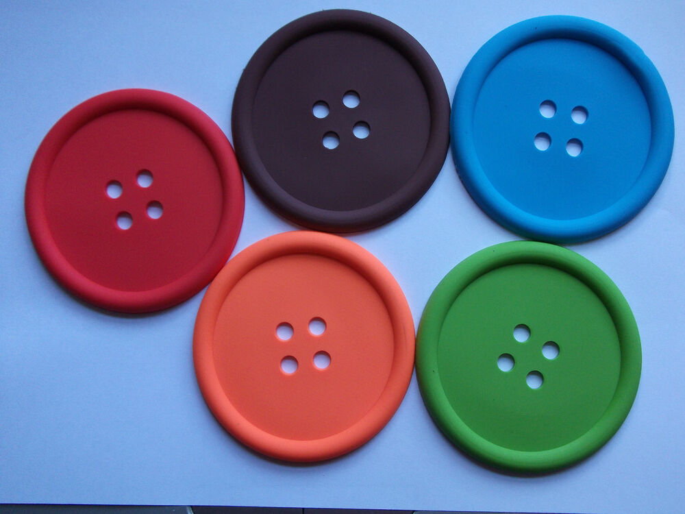 Big Blue Button Silicone Drinks Coaster Mat Fun Novelty