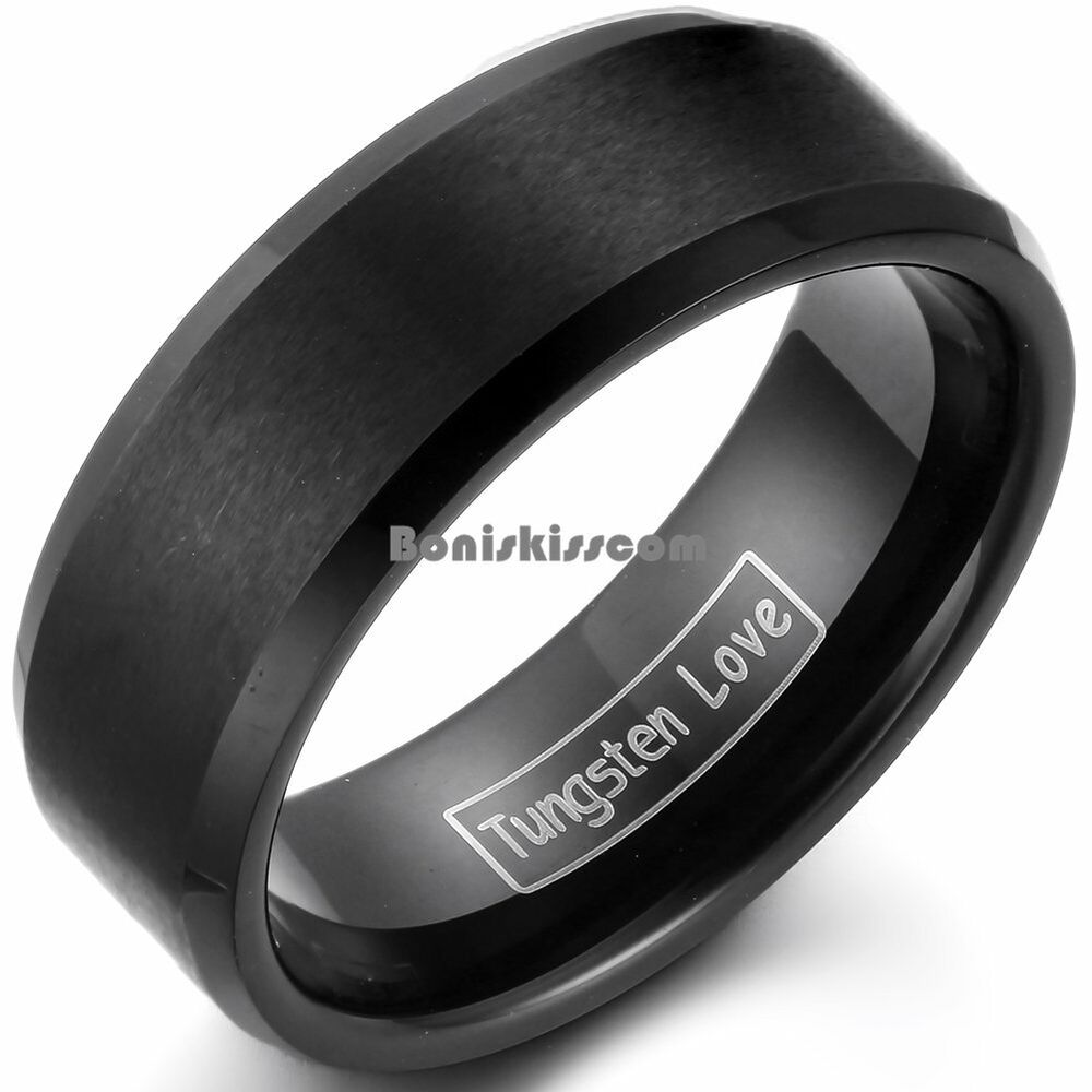 Black Tungsten Carbide Ring Matte Center Beveled Edges Mens Ladies Wedding Band