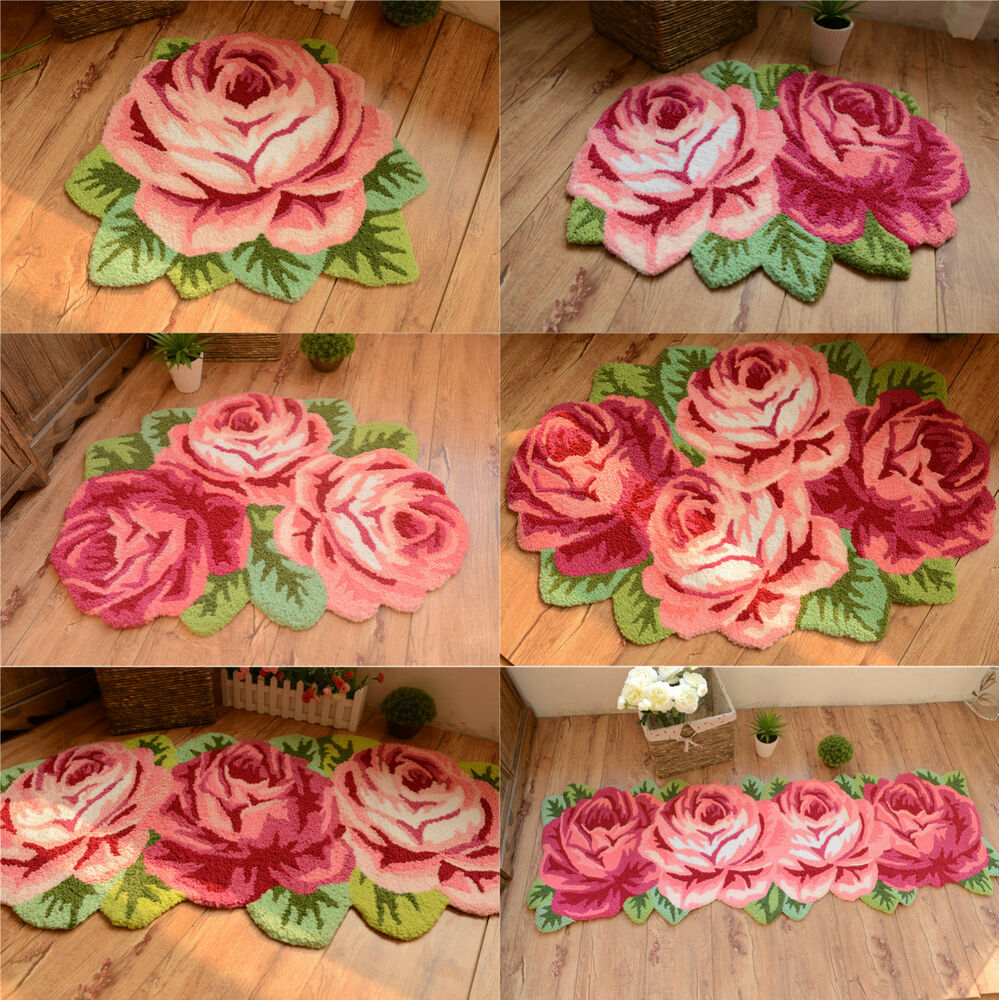 Country Roses Hand embroidered Pink Non-skid Door Rug Floor Mat Porch Runner : eBay