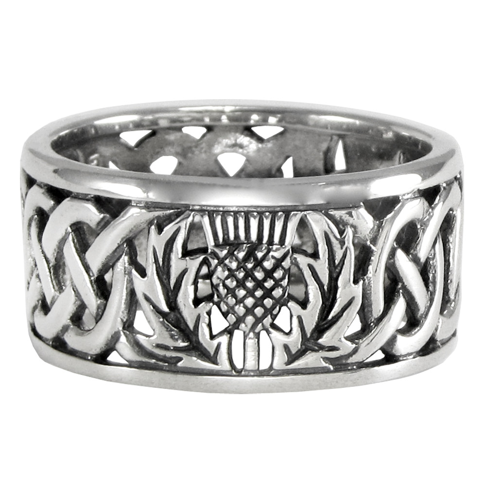 Scottish Wedding Rings: Sterling Silver Wide Scottish Thistle Wedding Band With