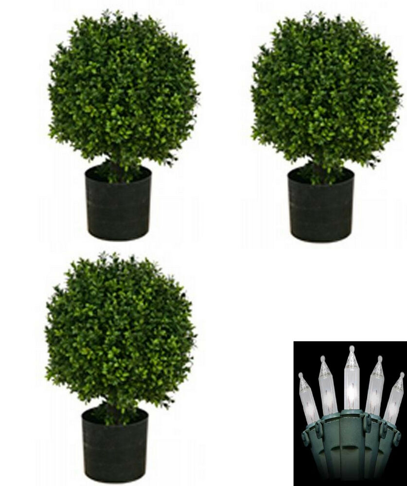 3 artificial 20 outdoor uv boxwood topiary tree bush ball. Black Bedroom Furniture Sets. Home Design Ideas