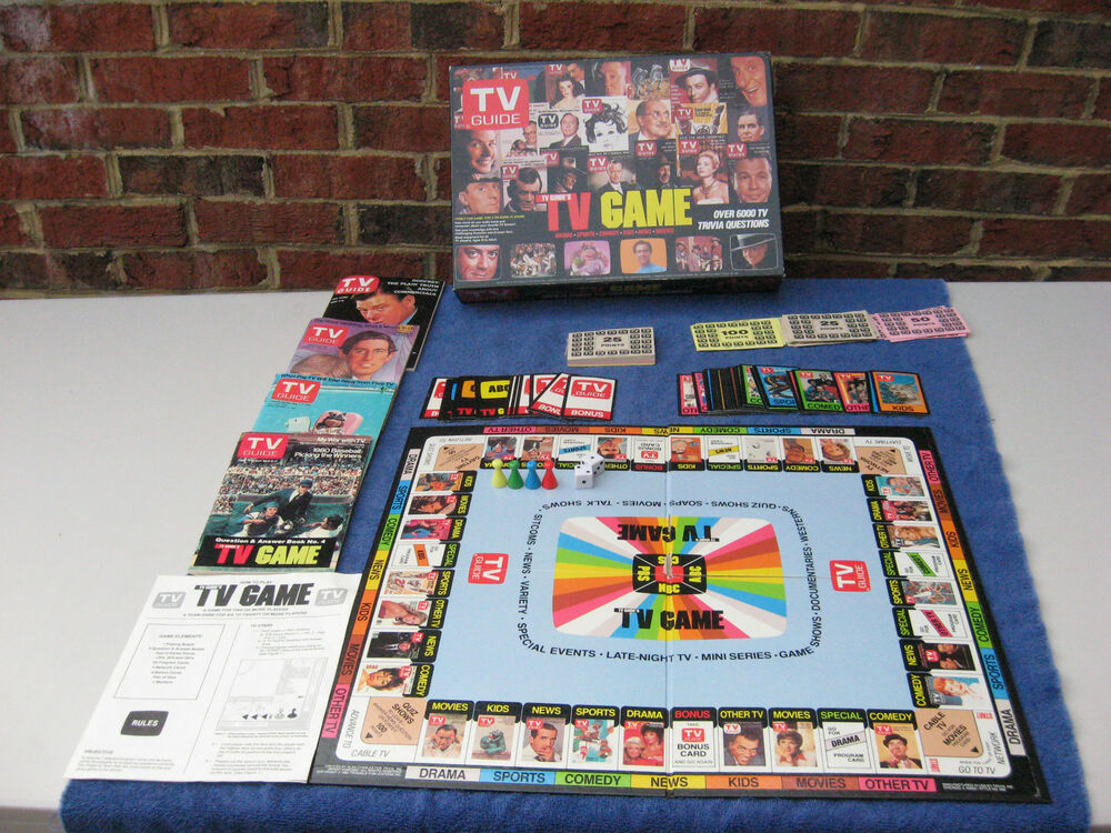 vintage 1984 tv guide trivia board game 6000 tv trivia. Black Bedroom Furniture Sets. Home Design Ideas