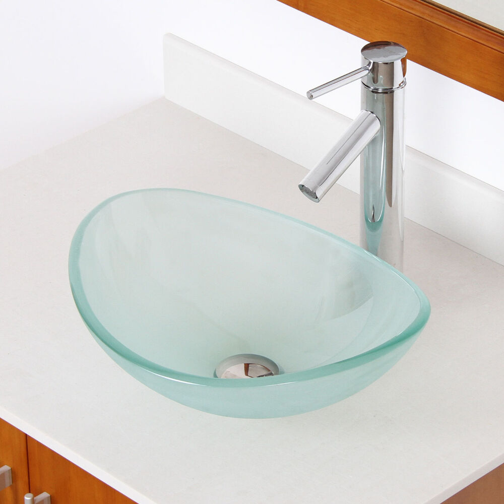 """Bathroom Small 16"""" Frosted Glass Vessel Sink & Chrome"""