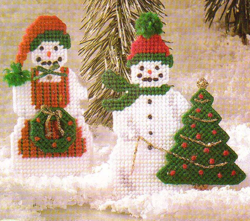 Cheery snow couple ornaments snowmen plastic canvas for Plastic canvas crafts for kids