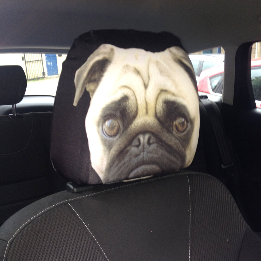 pug dog car seat head rest cover 2 pack design ideal gift ebay. Black Bedroom Furniture Sets. Home Design Ideas