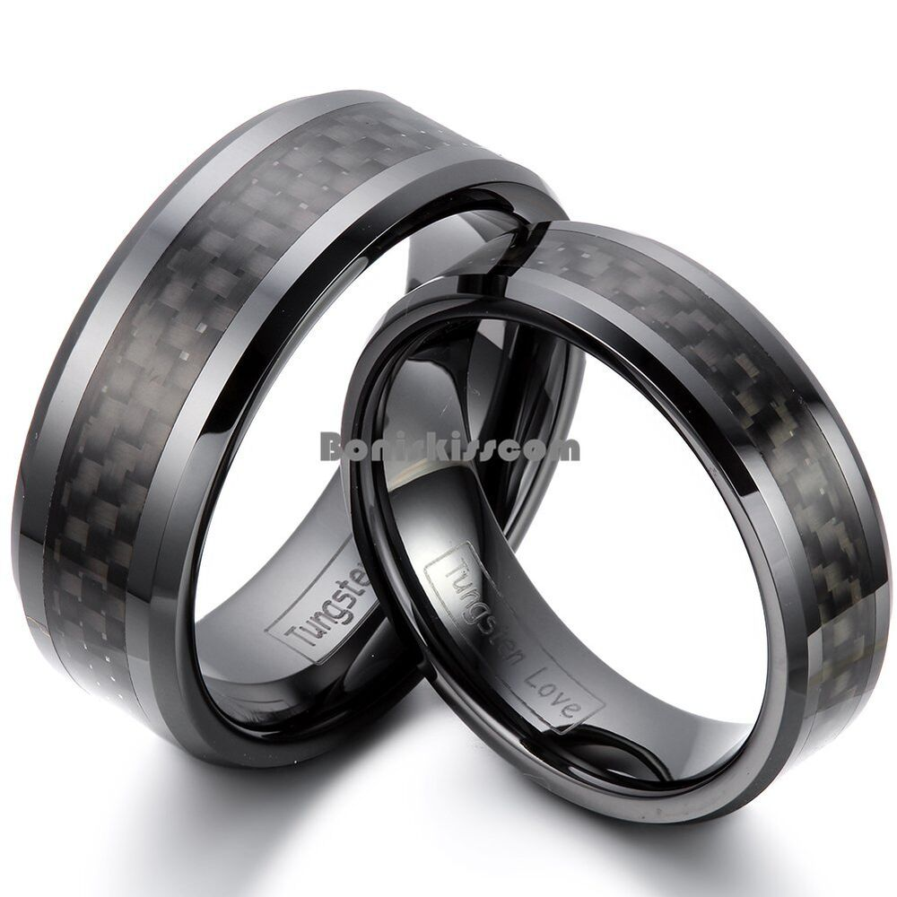 Black ceramic ring black carbon fiber inlay couples for Carbon fibre wedding ring
