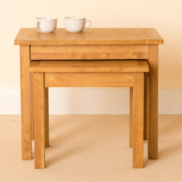 Lanner Oak Nest Of Tables Solid Wood Side Tables Small