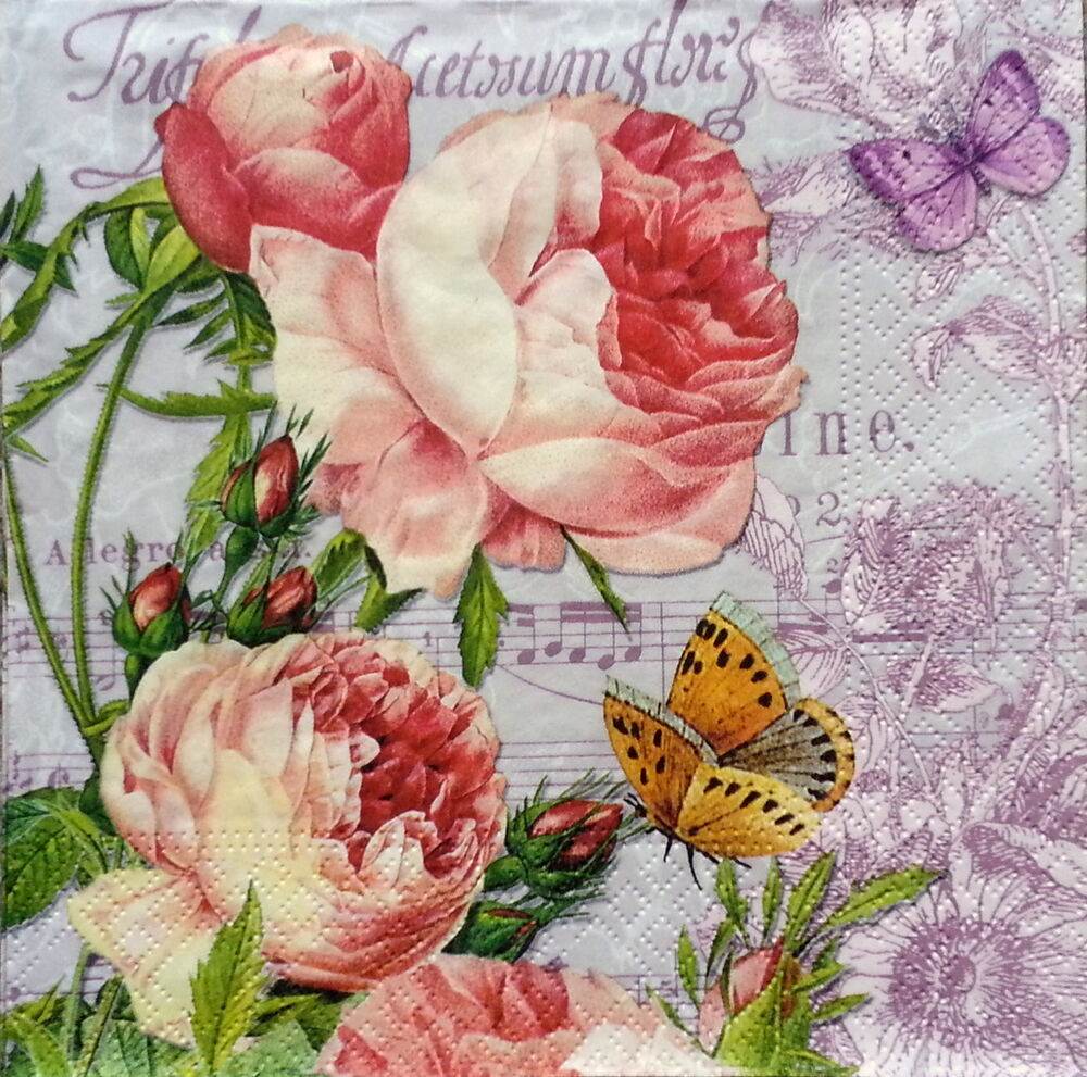 4 X Vintage Table Paper Napkins Craft Roses Decoupage