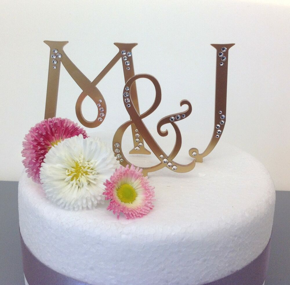 Wedding Cake Toppers Letters Uk : personalised monogram wedding cake toppers letters eBay