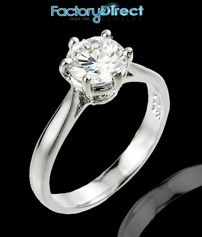 Women39s 10k white gold 1ct 6mm round solitaire cz for Cz wedding rings for women