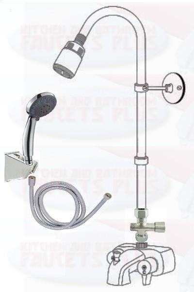 Chrome Three Way Add A Shower Clawfoot Tub Diverter Faucet Kit With
