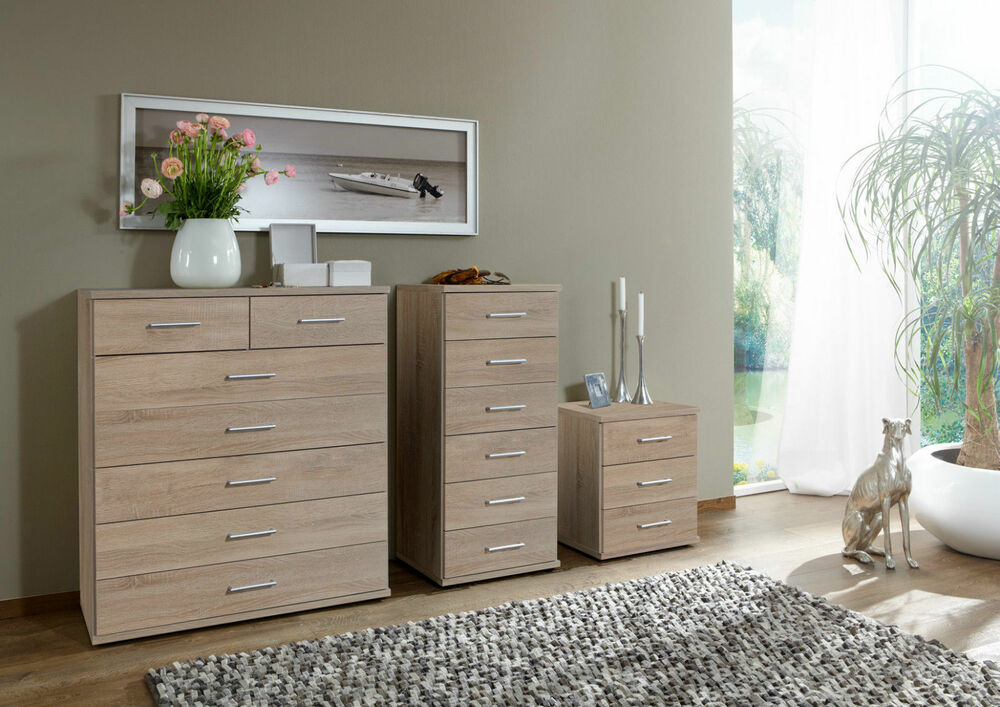 SlumberHaus German Imago Berlin Oak Bedroom Bedside Cabinet Chest Of Dr