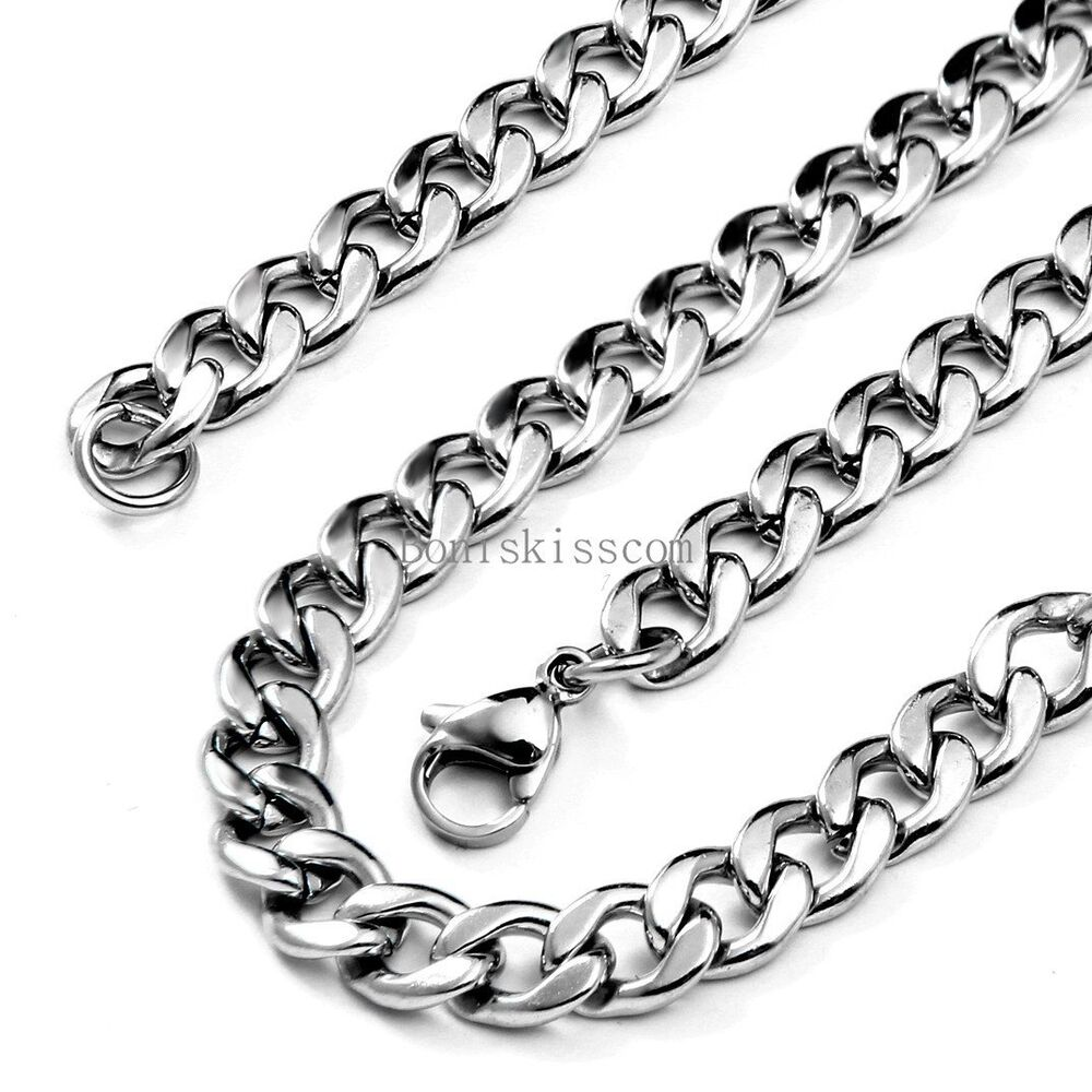 silver polished stainless steel curb link chain. Black Bedroom Furniture Sets. Home Design Ideas