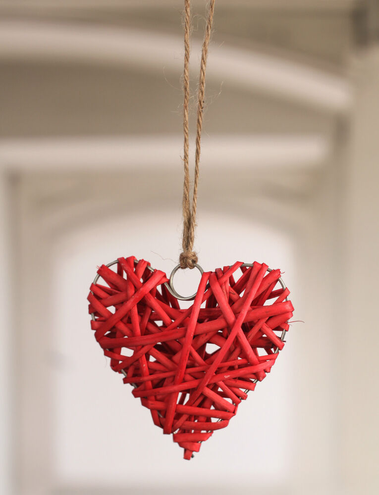Hanging Woven Heart Home Decor Gift 10cms Brand New Three