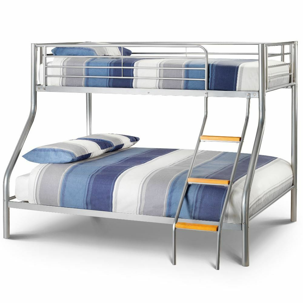 Atlas Silver Metal Triple Sleeper Bed 4ft6 Double With 4