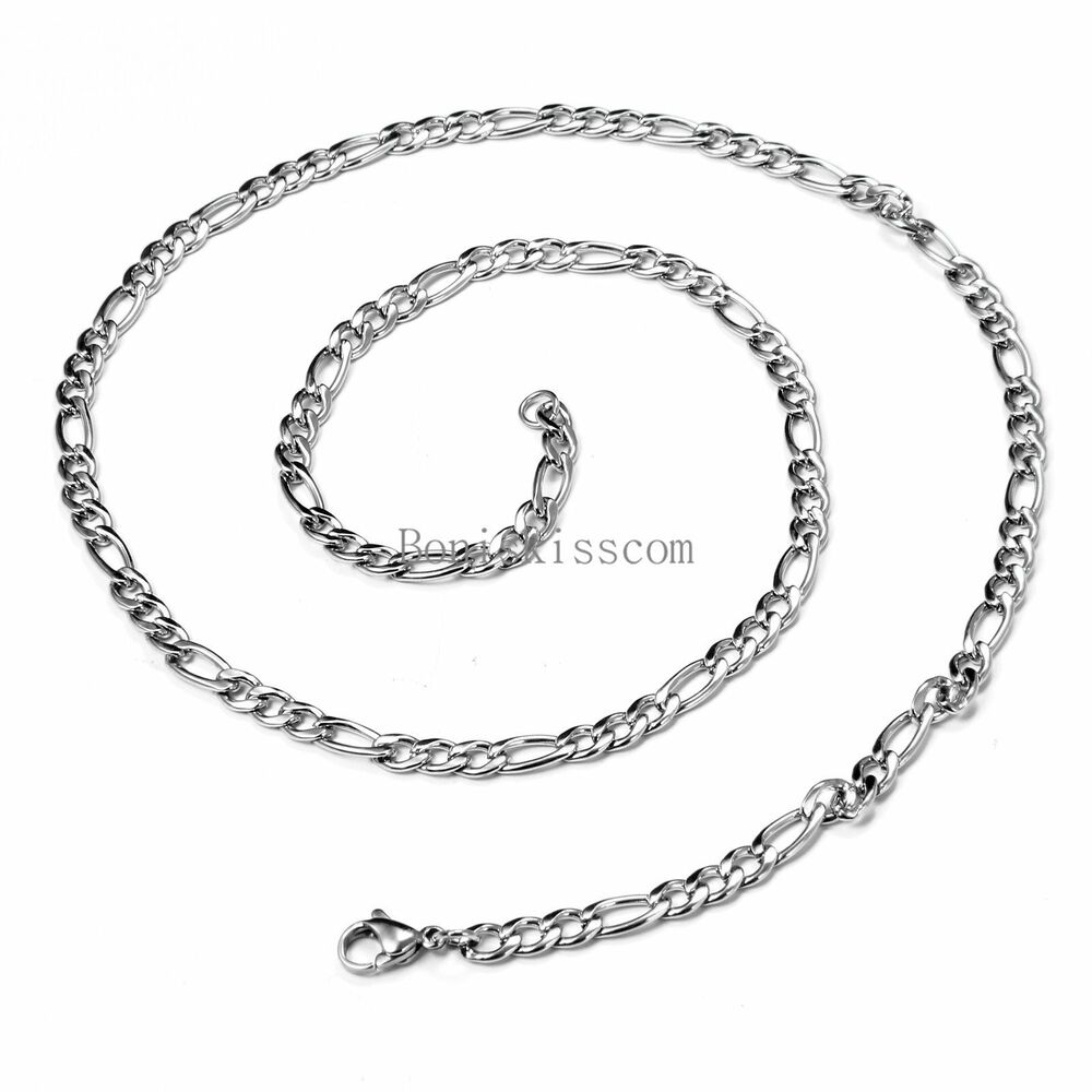 4mm Polished Silver Figaro Chain Stainless Steel Necklace