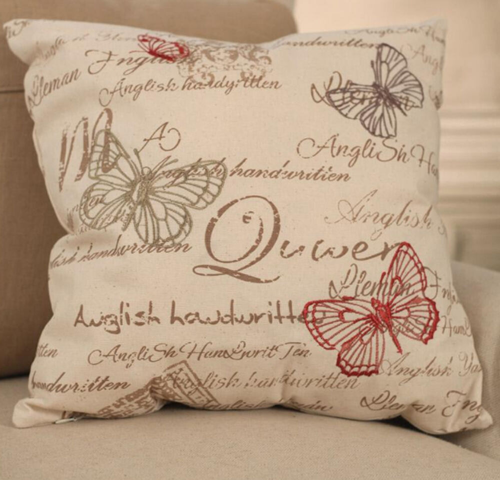 Throw Pillows With French Script : Cream Butterfly Script Cushion Cover French Throw Pillow Home Decor BRAND NEW eBay