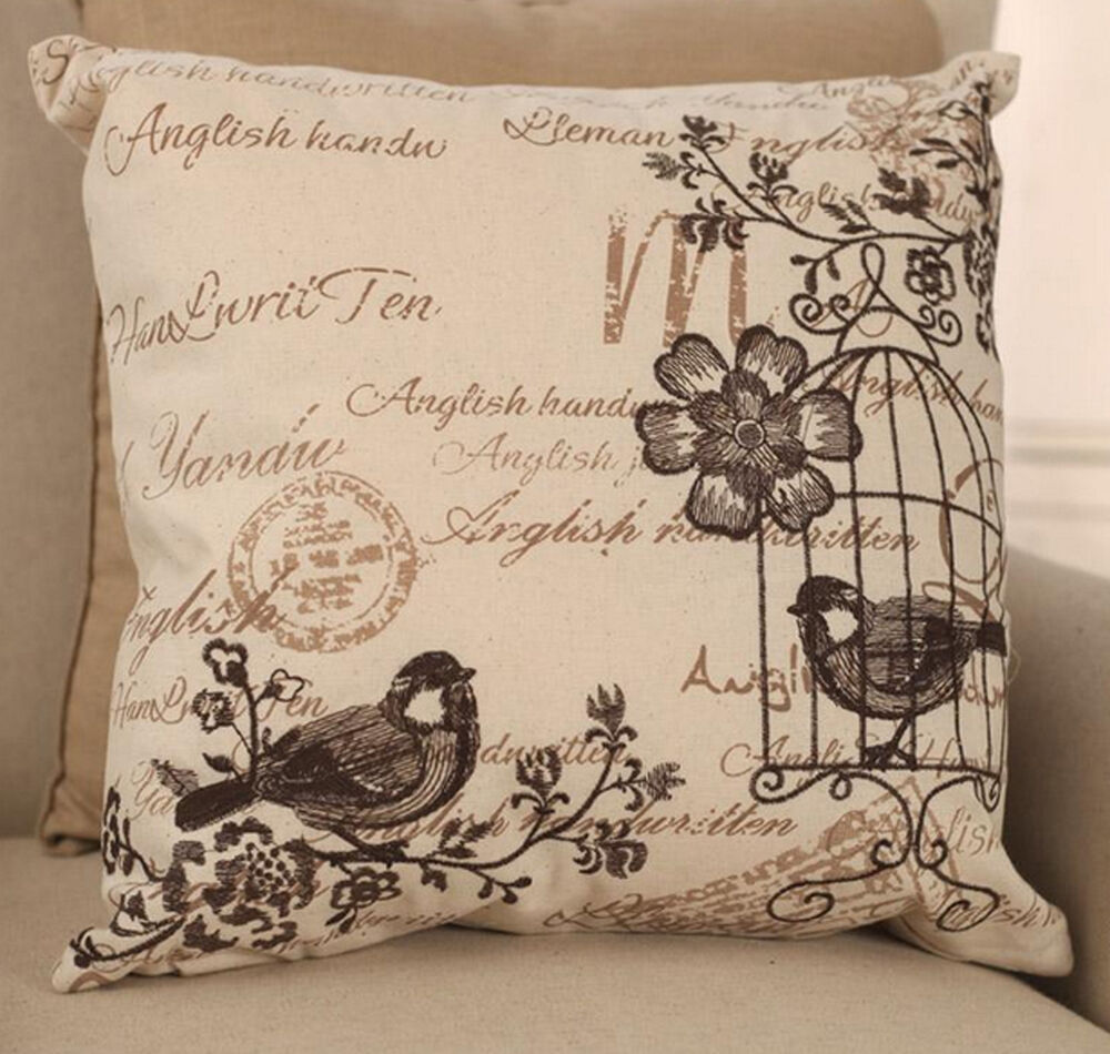 Throw Pillows With French Script : Birdcage Script Cushion Cover French Provincial Throw Pillow Home Decor NEW eBay
