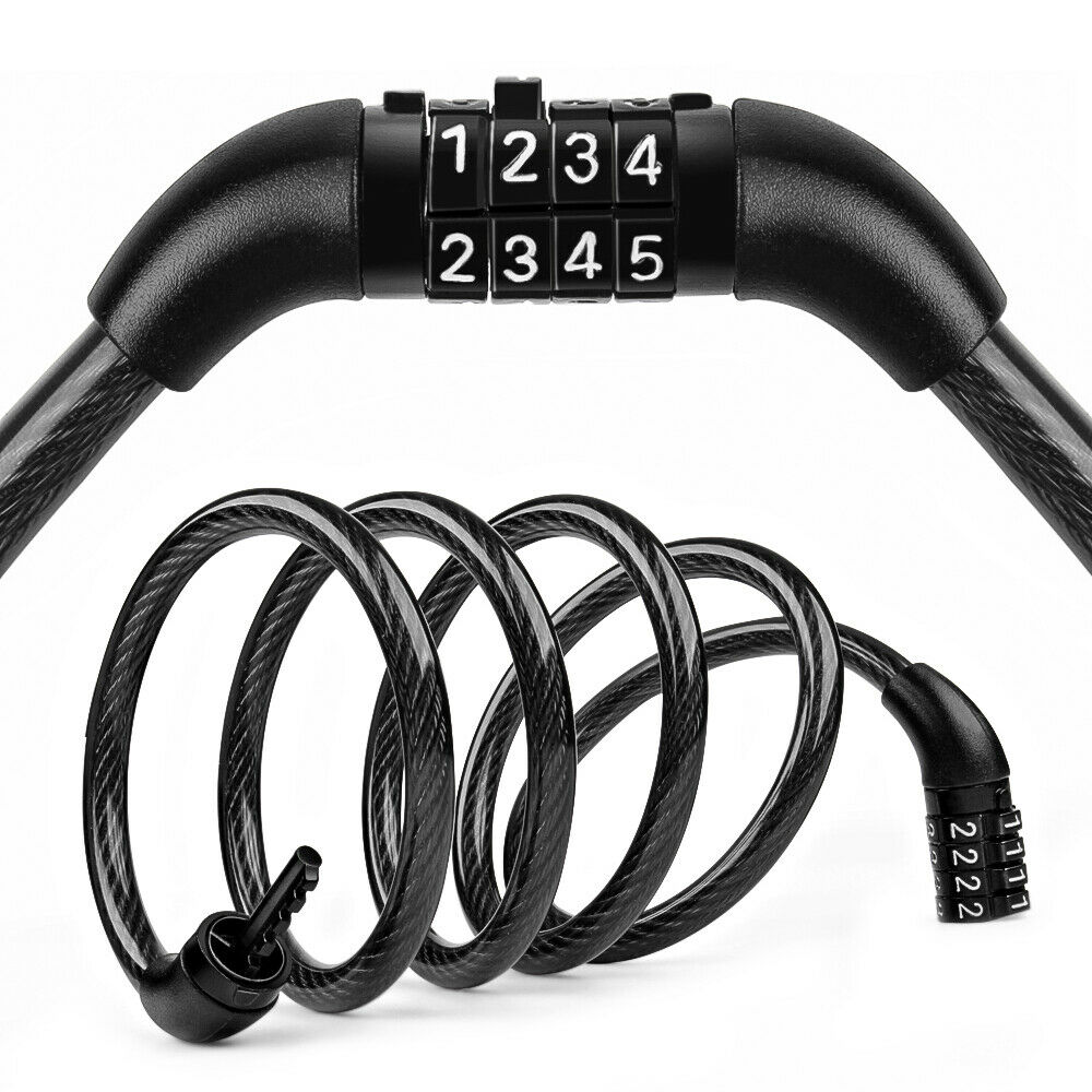Bike Bicycle Cycling Security Cable 4 Digit Combination