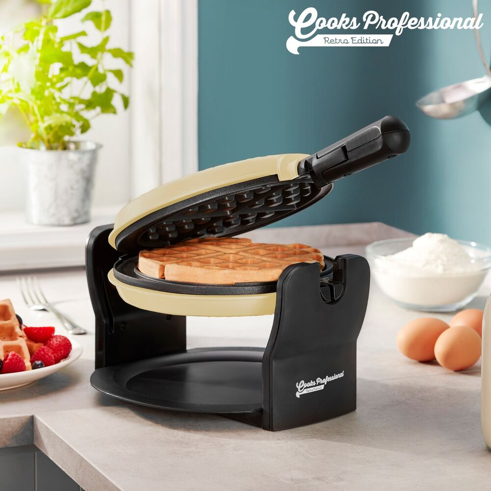 rotary belgian waffle maker round non stick iron cream. Black Bedroom Furniture Sets. Home Design Ideas
