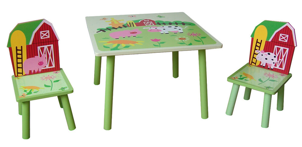 farm style childrens wooden table and chair set kids toddlers childs new ebay. Black Bedroom Furniture Sets. Home Design Ideas