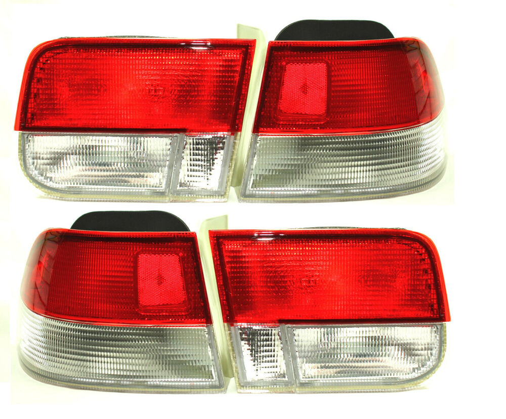 96-00 Honda Civic EK EM 2dr Coupe Red Clear Frosted Tail ...