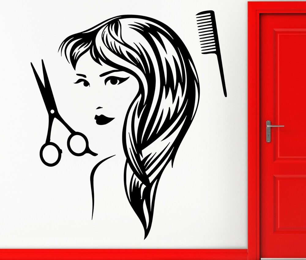 wall stickers vinyl decal hair spa beauty salon barbershop decor z2311 ebay. Black Bedroom Furniture Sets. Home Design Ideas