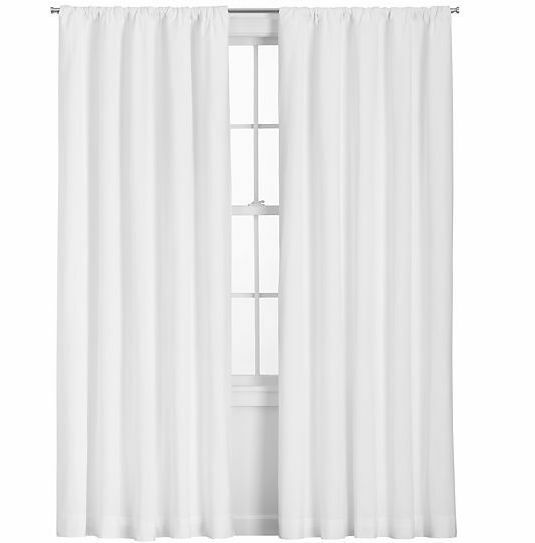 White Solid 100 Linen Lined Curtains With Back Tabs Sold