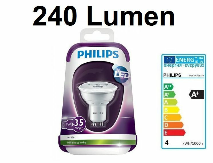 philips led strahler lampe spot 3 5w 35w gu10 2700 kelvin 240 lumen warm wei ebay. Black Bedroom Furniture Sets. Home Design Ideas
