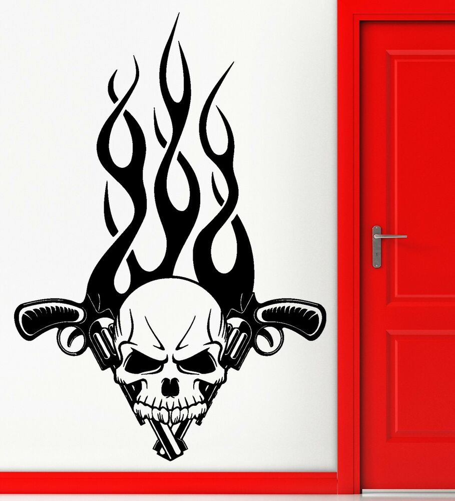 Cool Skull Logos With Guns Wall Stickers V...