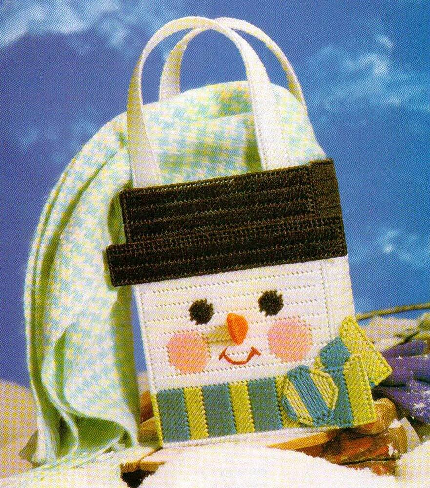 Snowman Gift Bag Tote Christmas Plastic Canvas Pattern