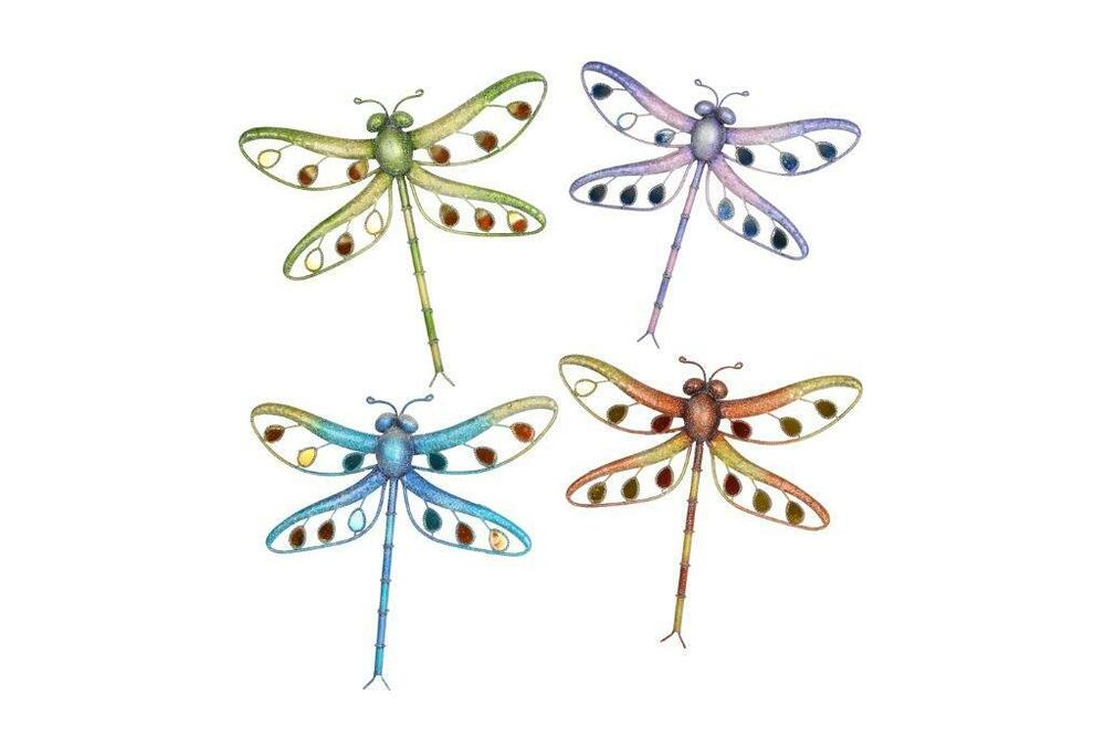 Metal hanging dragonfly wall art for indoor or outdoor for Dragonfly wall art
