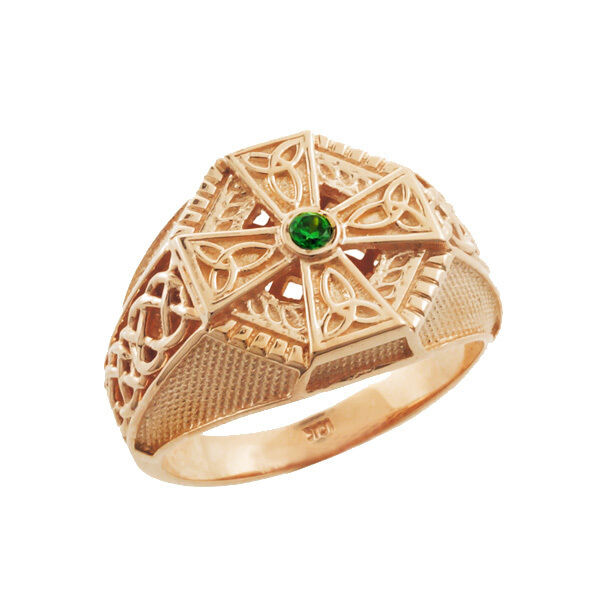 rose gold celtic cross with round green cz men 39 s emerald. Black Bedroom Furniture Sets. Home Design Ideas