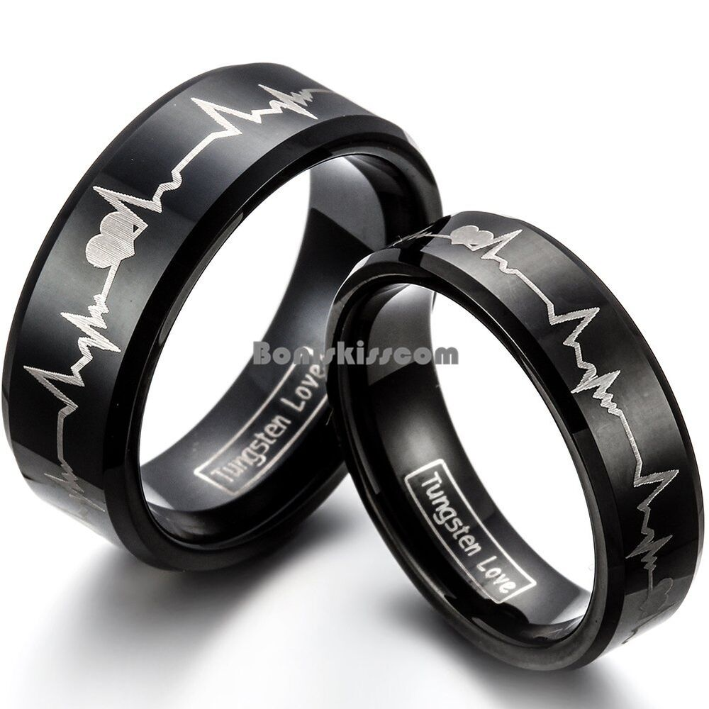 Forever Love Promise Black Tungsten Carbide Ring Couple