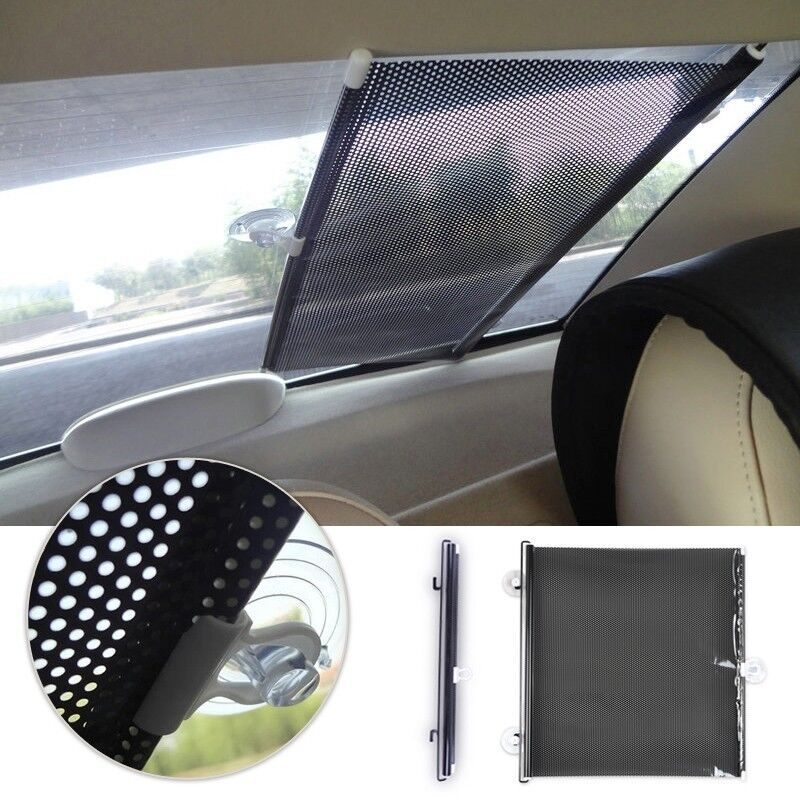 retractable car auto front rear windshield sun shade cover shield visor 50 x 125 ebay. Black Bedroom Furniture Sets. Home Design Ideas