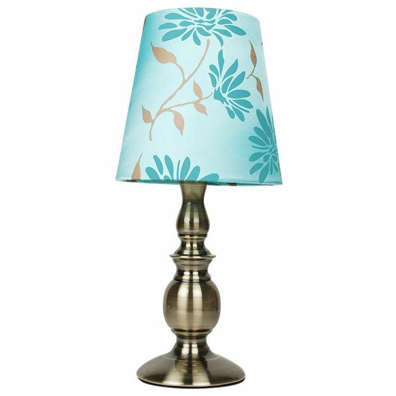 Modern duck egg blue floral glass table light lamp with for Bedside table lamp shades