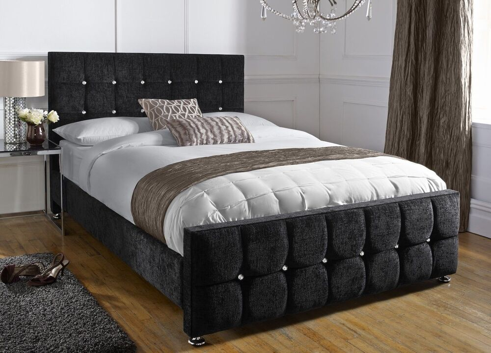 Java upholstered chenille bed frame all colours sizes - All in one double bed ...