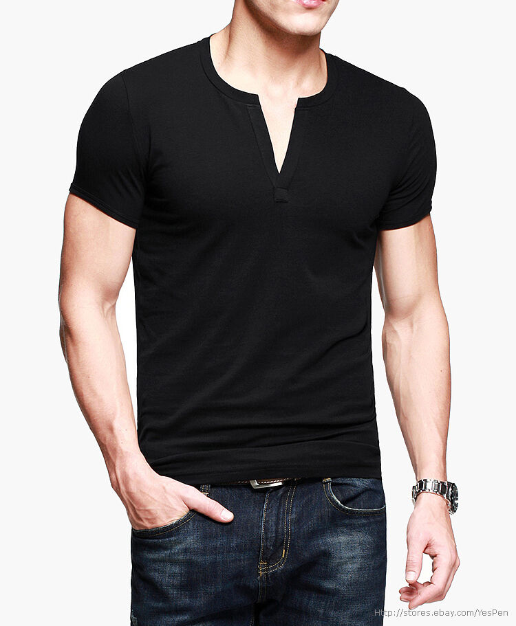 New Mens Top Tee Casual T Shirt Deep V Neck Short Sleeve