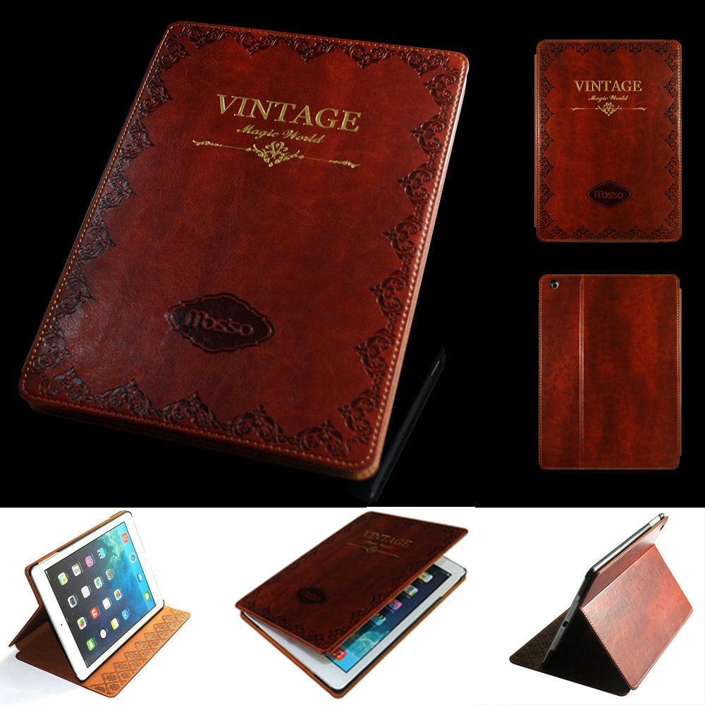 Book Cover Case : Retro ancient vintage old book style stand pu leather