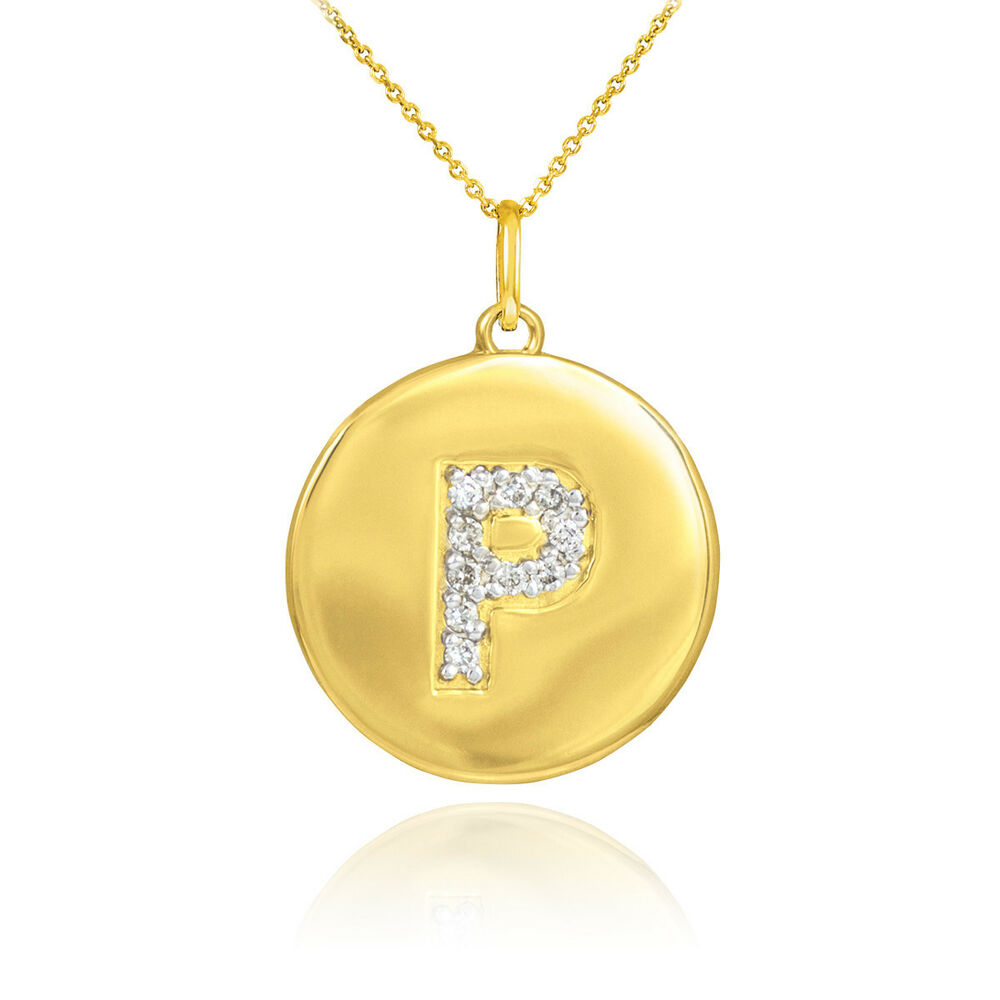 10k yellow gold letter quotpquot initial diamond disc charm for Letter c gold pendant