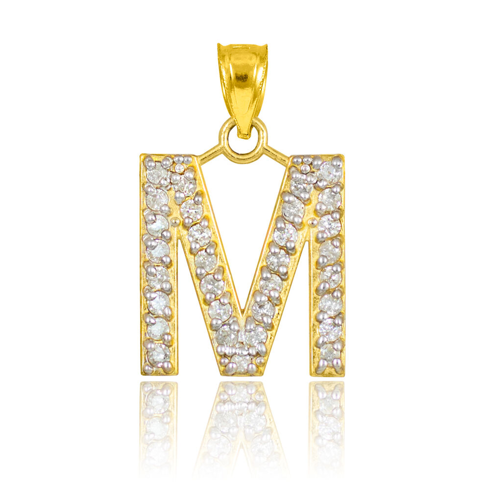 10k Letter Quot M Quot Initial Gold Pendant Necklace With Diamonds