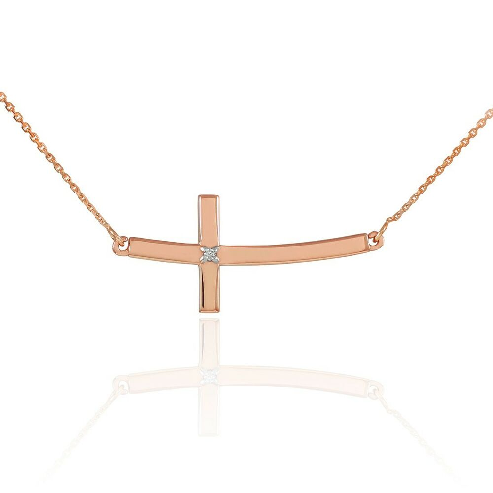 14k rose gold sideways curved diamond cross necklace ebay. Black Bedroom Furniture Sets. Home Design Ideas