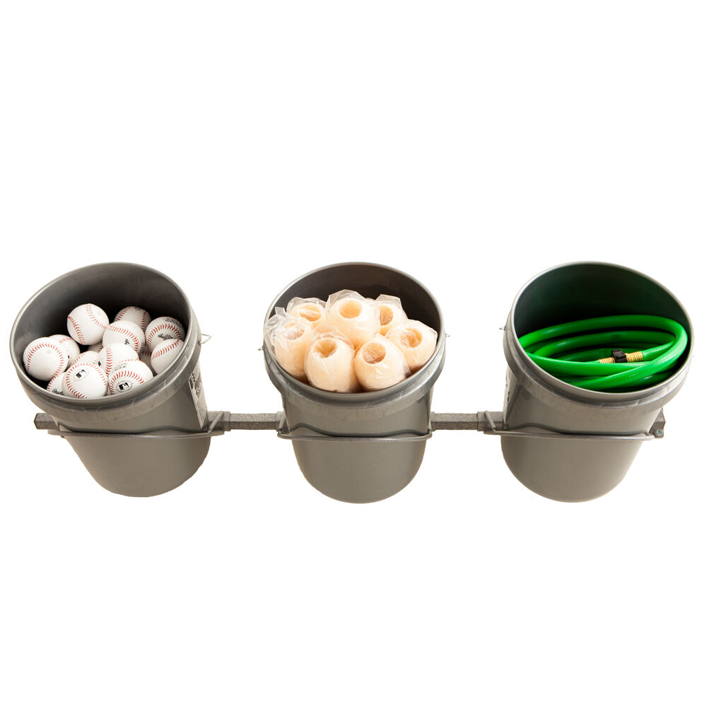 3 Bucket Rack Holds 5 Gallon Bucket Wall Garage Storage By