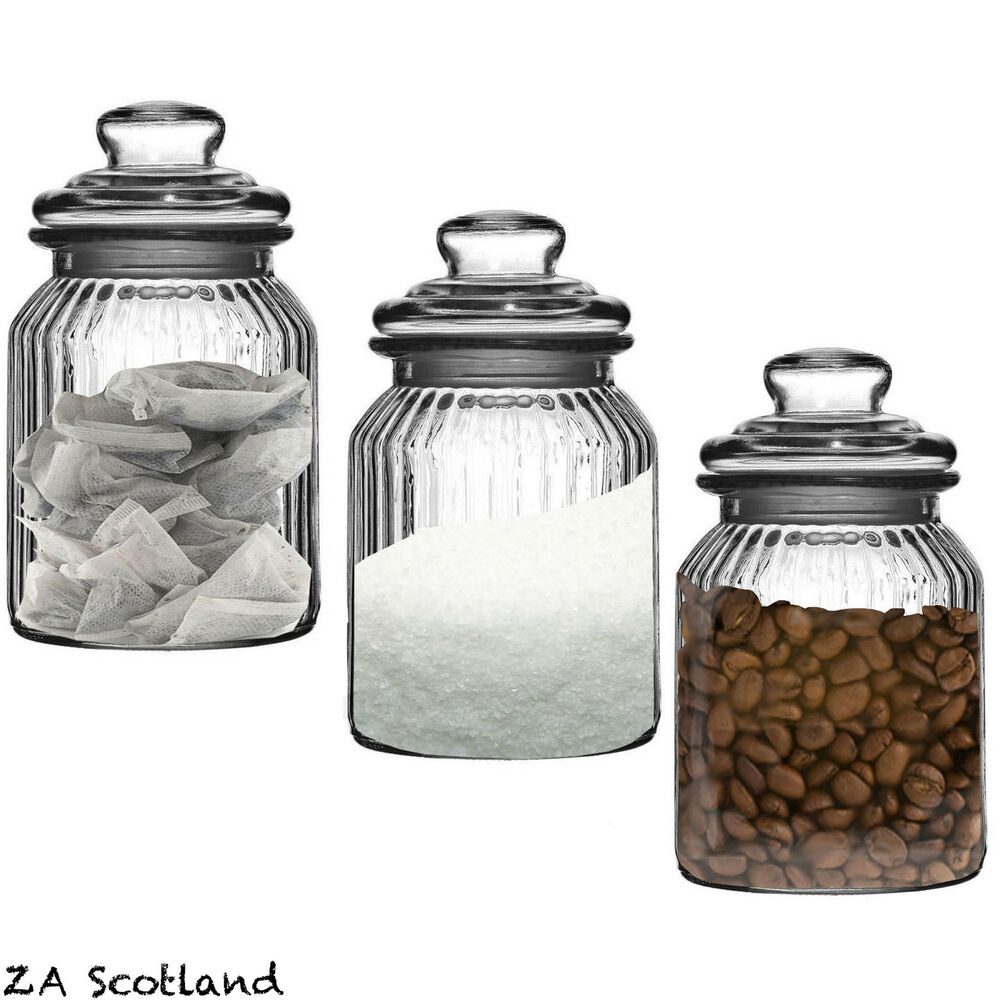 set of 3 ribbed glass kitchen food spices candy storage set of 3 stainless steel tea coffee sugar glass canisters