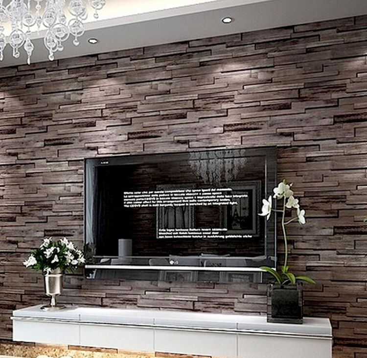 Brick Effect Wallpaper Bedroom Taupe And Blue Bedroom Single Bed Bedroom Designs Bedroom Ideas Cozy: Modern Rustic Wood Blocks Brick Wall Effect Vinyl