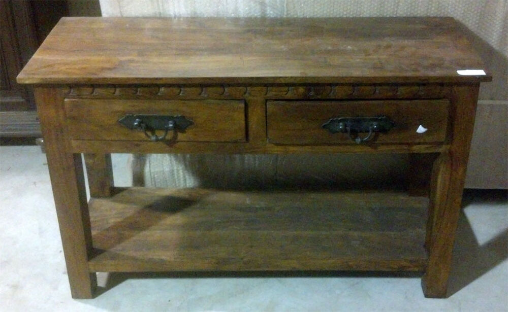 Tv console stand drawer mango wood ebay