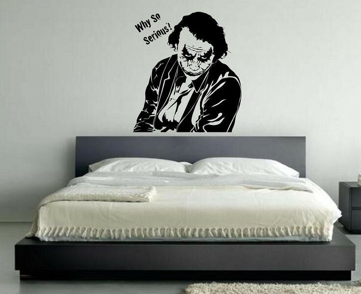 Joker why so serious btamn dark knight wall art kid decor for Dark knight mural