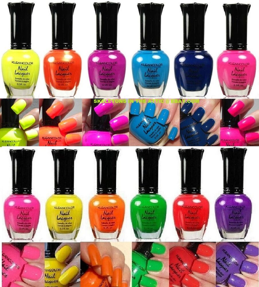 New Kleancolor Nail Polish Neon Collection Set Of 12