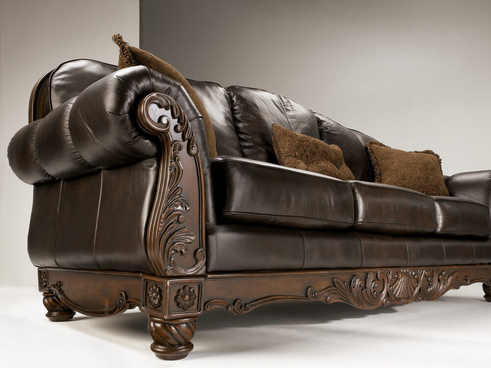 North Shore All Leather Brown Traditional Sofa Set Old